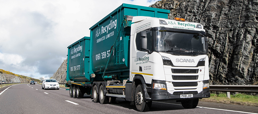 A&A Recycling Container Truck On dual Carriage way